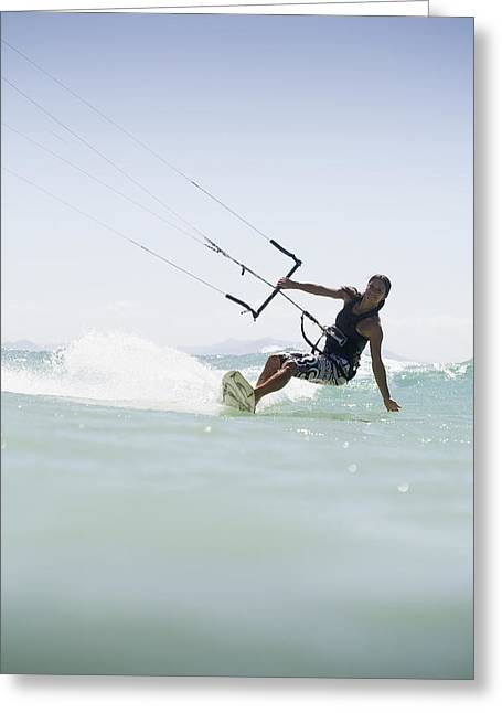 Woman Kitesurfing In Costa De La Luz Greeting Card