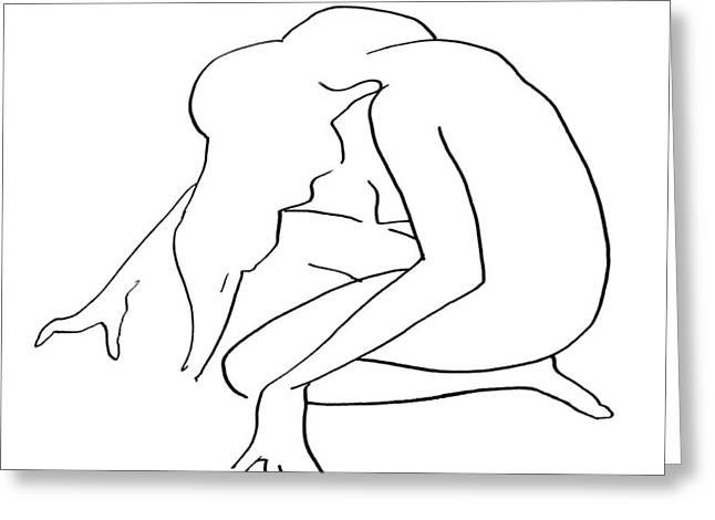 Woman Kneeling Greeting Card