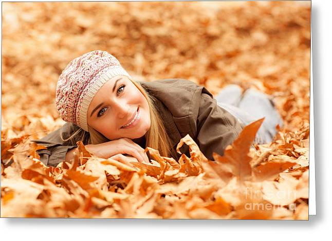 Woman Lay On The Ground Greeting Card
