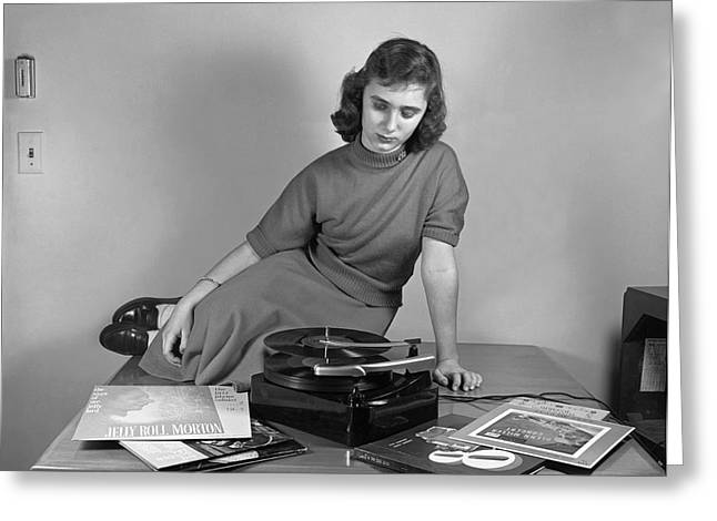 Woman Listening To Records Greeting Card
