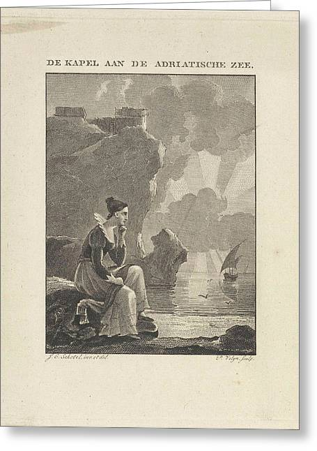 Woman Looking Out Over The Sea, Philippus Vellum Greeting Card by Philippus Vellum