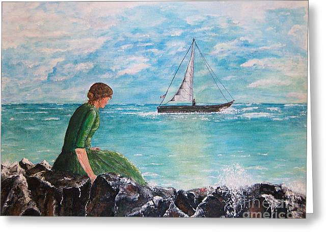 Woman Looking Out To Sea Greeting Card