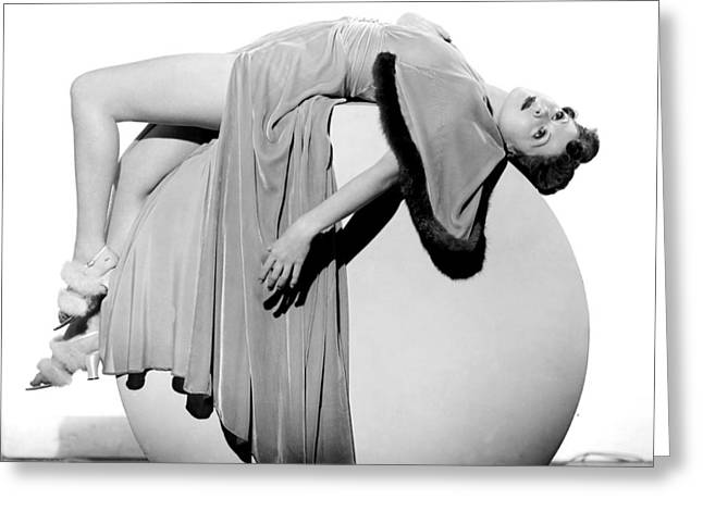 Woman Lying On Exercise Ball Greeting Card