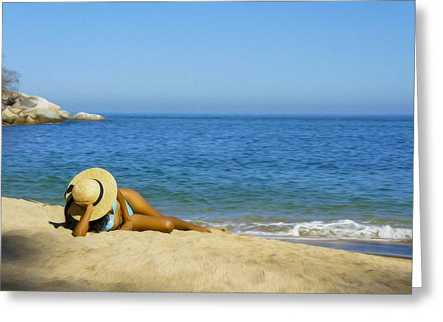 Woman Lying On The Beach Greeting Card by Aged Pixel