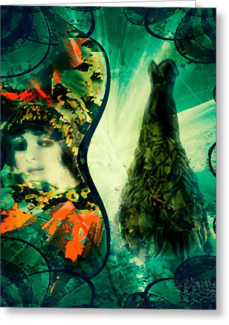 Green Mystery Montage Greeting Card