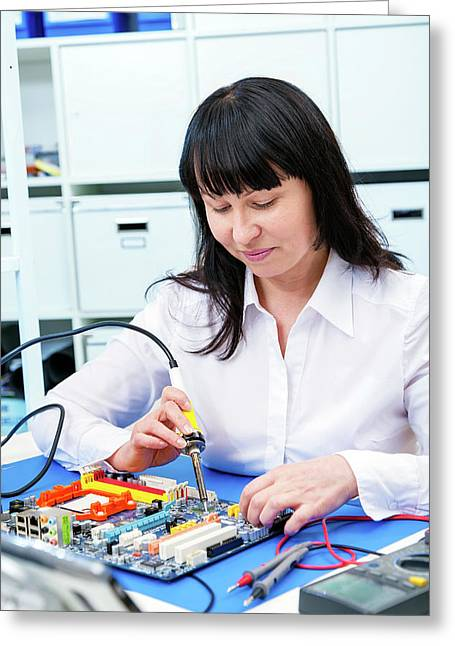 Woman Making A Micro Processor Greeting Card