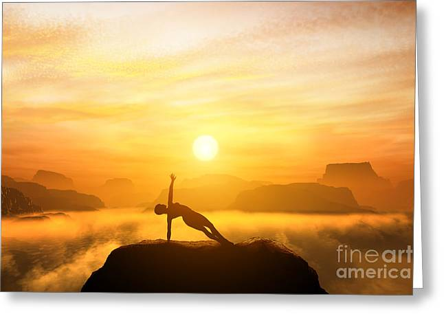 Woman Meditating In Mountains Greeting Card by Michal Bednarek