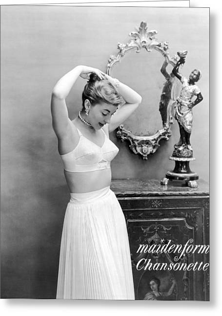 Woman Models Bullet Bra Greeting Card by Underwood Archives