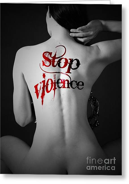 Woman Move Tattoo Containing Stop Violent Greeting Card