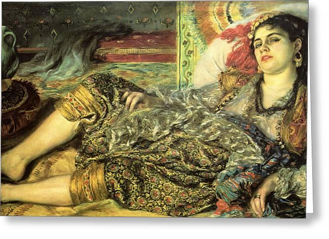 Woman Of Algiers Greeting Card by Pierre Auguste Renoir