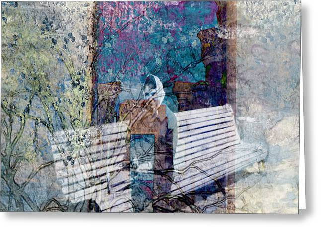 Greeting Card featuring the digital art Woman On A Bench by Cathy Anderson