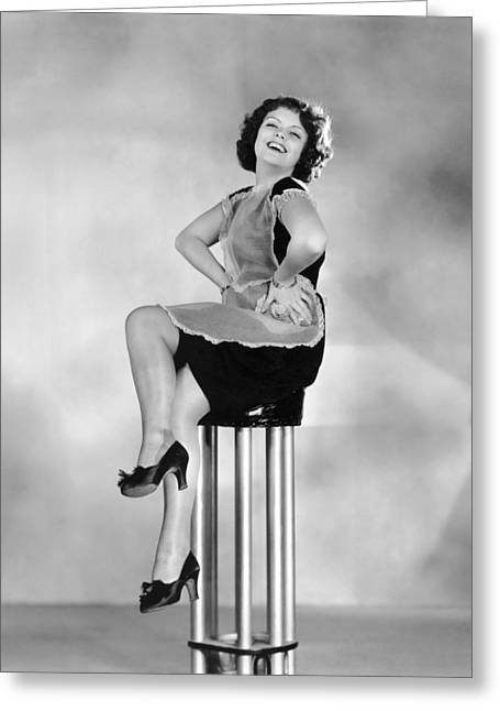 Woman On A Pedestal Greeting Card by Underwood Archives