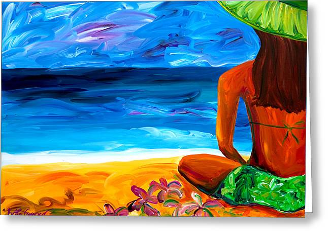 Woman On Beach Greeting Card by Beth Cooper