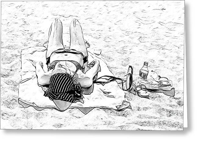 Woman On Beach Greeting Card by Les Palenik