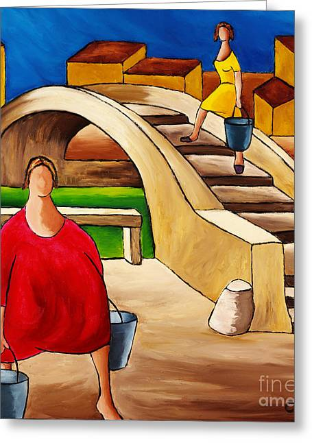Woman On Bridge Greeting Card by William Cain