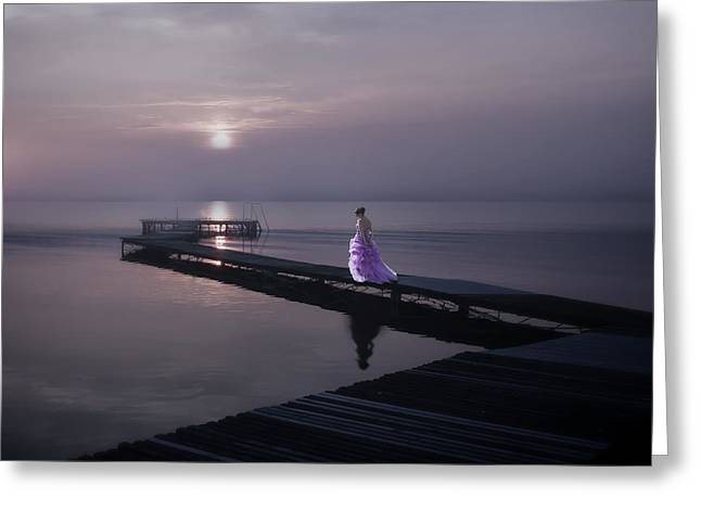 Woman On Footbridge Greeting Card by Joana Kruse