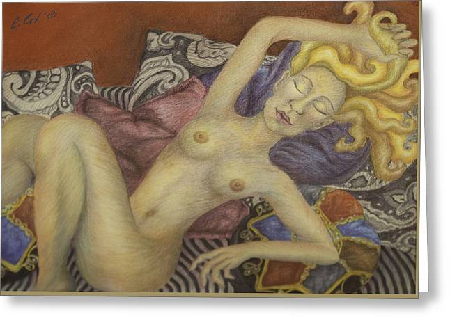 Woman On My Couch Greeting Card by Claudia Cox
