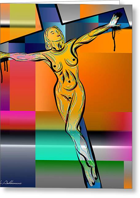 Woman On The Cross Greeting Card by Mark Ashkenazi