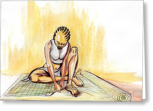 Woman Plaiting Mats In Rwanda Greeting Card by Emmanuel Baliyanga