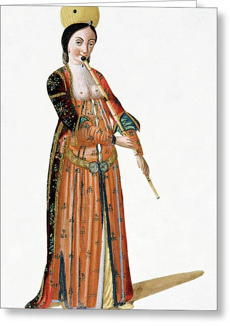 Woman Playing A Flute Greeting Card by Cci Archives
