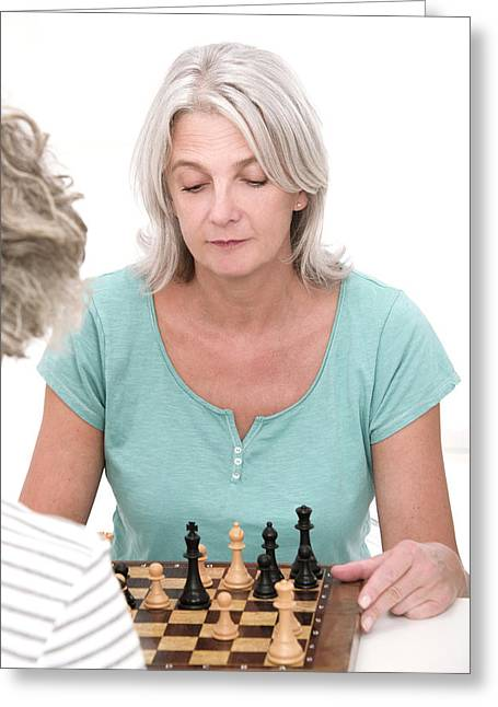 Woman Playing Chess Greeting Card by Lea Paterson