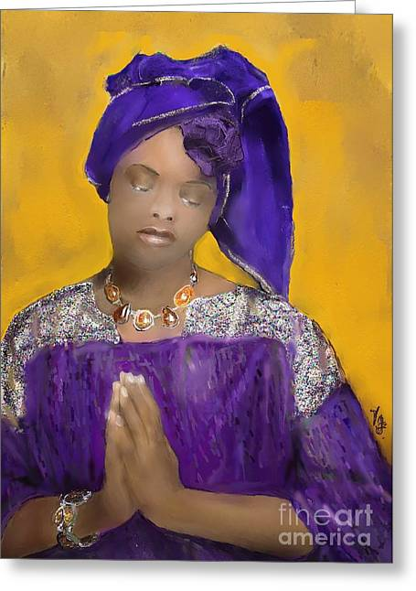 Woman Praying Greeting Card by Vannetta Ferguson