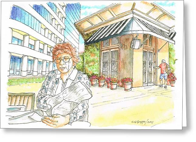 Woman Reading A Newspaper In Il Fornaio, Irvine, California Greeting Card