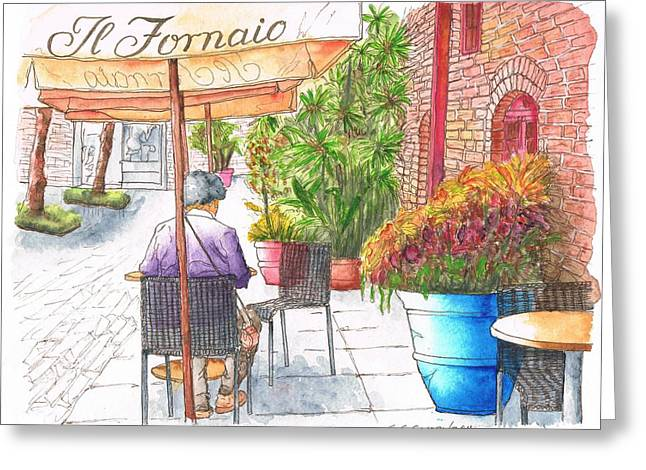 Woman Reading A Newspaper In Il Fornaio In Pasadena, California Greeting Card by Carlos G Groppa