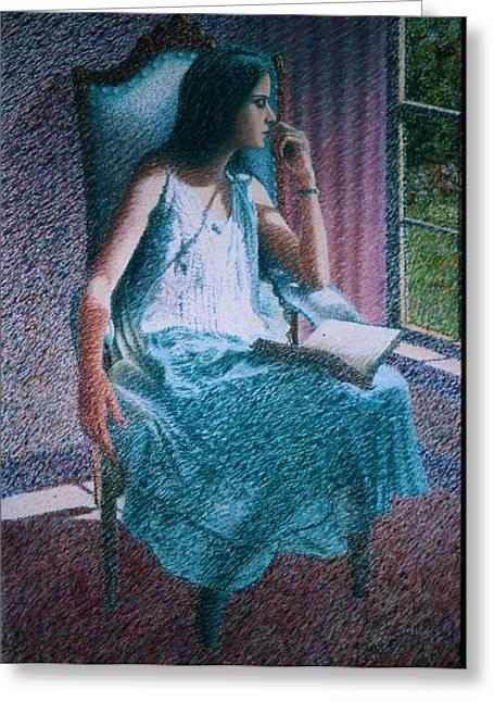 Woman Reading Greeting Card by Herschel Pollard