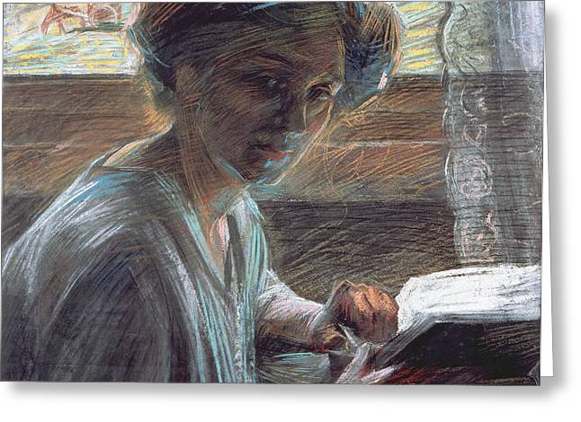 Woman Reading Greeting Card by Umberto Boccioni