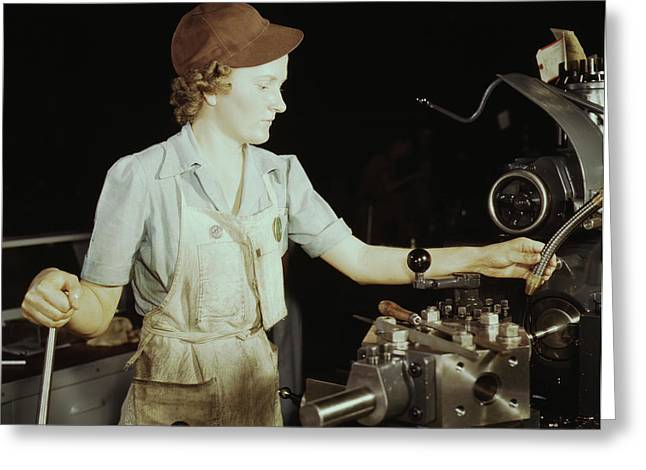 Woman Reaming Tools For Transport Greeting Card by Stocktrek Images