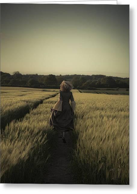 Woman Running Away In Corn Field Greeting Card
