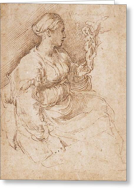 Woman Seated Holding A Statuette Of Victory, C.1524 Pen & Ink On Paper Greeting Card by Parmigianino