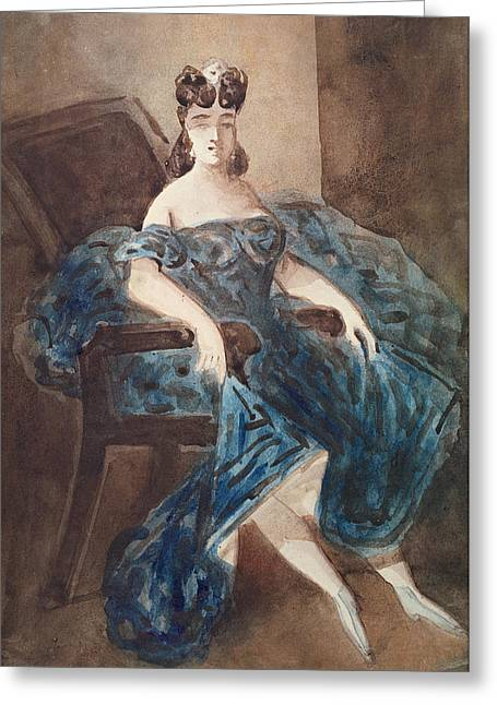 Woman Seated In An Armchair Wc On Paper Greeting Card by Constantin Guys