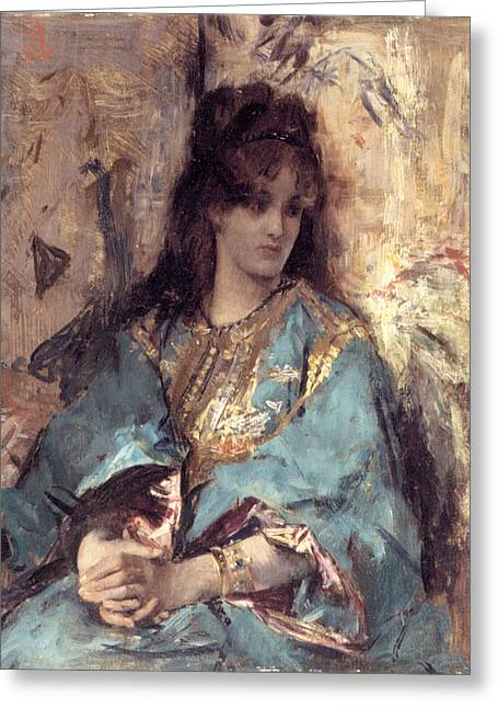 Woman Seated In Oriental Dress Greeting Card by Alfred Stevens