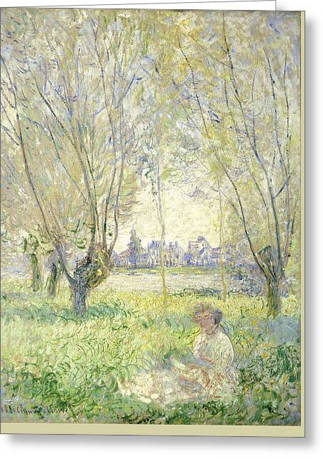 Woman Seated Under The Willows Greeting Card by Claude Monet