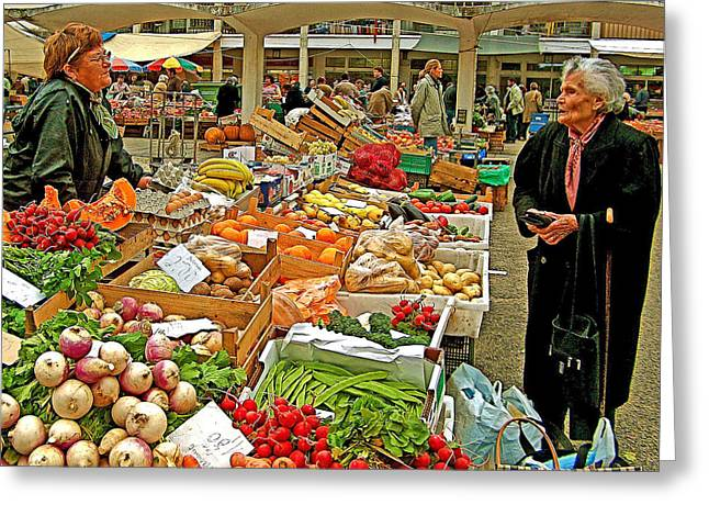 Woman Selling Produce And Eggs At Wednesday Market In Cascais-portugal Greeting Card by Ruth Hager