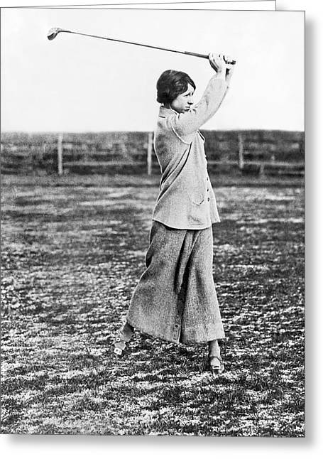 Woman Showing Golf Form Greeting Card