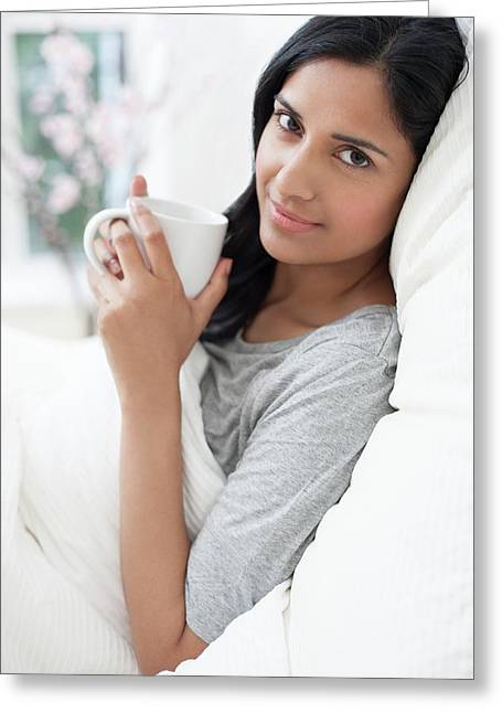 Woman Sitting In Bed And Mug Of Coffee Greeting Card