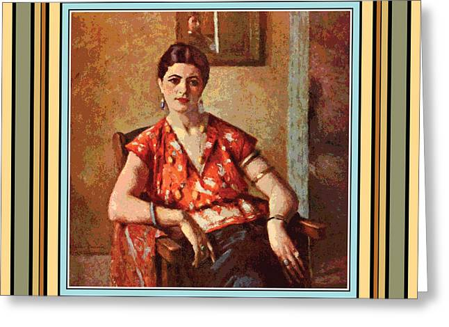 Woman Sitting In Chair Greeting Card by Gary Grayson