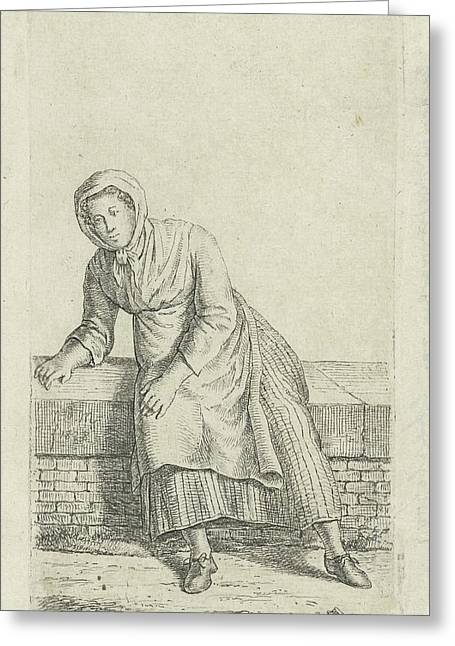 Woman Sitting On A Wall, Anthonie Willem Hendrik Nolthenius Greeting Card by Quint Lox