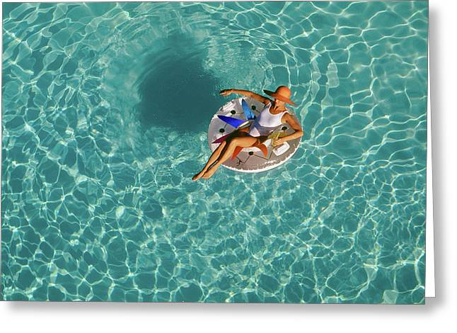 Woman Sitting On Float In Swimming Pool Greeting Card