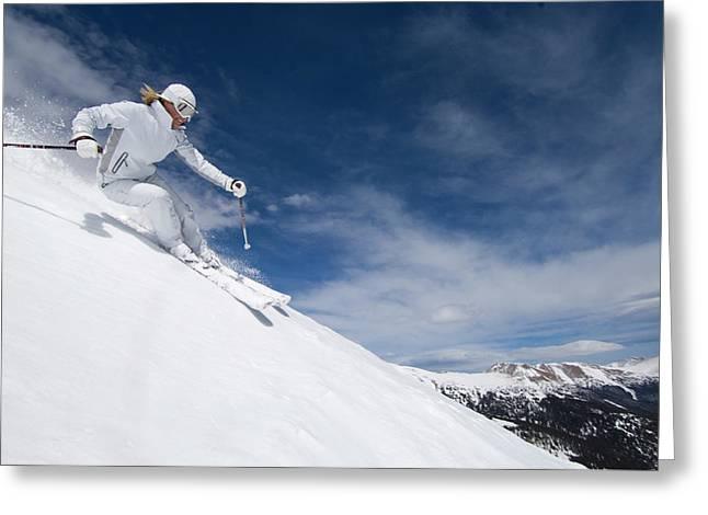 Woman Skiing At Loveland, Colorado Greeting Card
