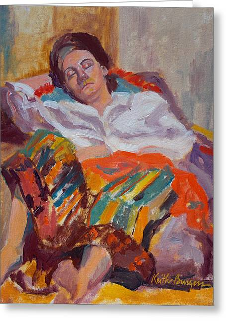 Woman Sleeping Greeting Card by Keith Burgess