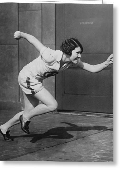 Woman Sprinter Practicing Greeting Card by Underwood Archives