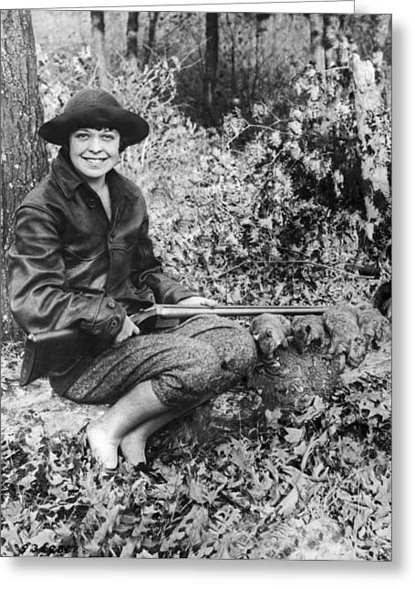 Woman Squirrel Hunter Greeting Card by -