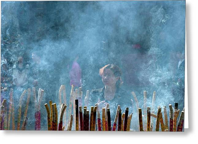 Woman Standing In Front Of Incense Burner Greeting Card