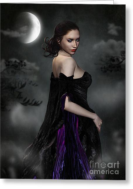 Woman Standing In Night Mist And Fog Greeting Card