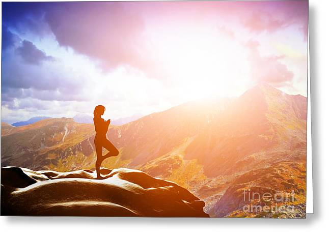 Woman Standing In Tree Yoga Position Meditating In Mountains At Sunset Greeting Card by Michal Bednarek