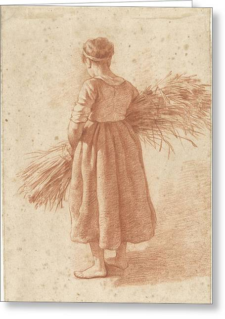 Woman Standing With A Wood Grain, Attributed To Abraham Greeting Card
